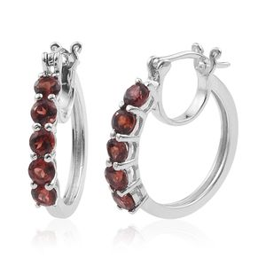 KARIS Collection - Mozambique Garnet Platinum Bond Brass Hoop Earrings TGW 2.50 cts.