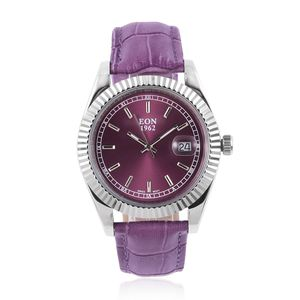 EON 1962 Swiss Movement Water Resistant Watch with Purple Genuine Leather Band and Stainless Steel Back