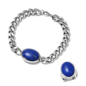 Lapis Lazuli Stainless Steel Men's Solitaire Bracelet (8.50in) and Ring (Size 11) TGW 10.00 cts.