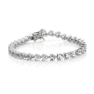TLV White Topaz Platinum Over Sterling Silver Bracelet (7.25 In) TGW 14.20 cts.