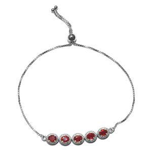 Niassa Ruby Platinum Over Sterling Silver Bolo Bracelet (Adjustable) TGW 2.00 cts.