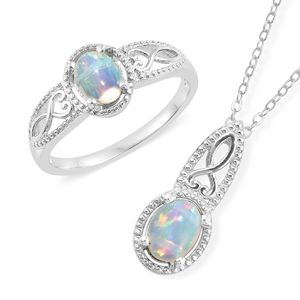 Customer Appreciation DOORBUSTER Ethiopian Welo Opal Platinum Over Sterling Silver Ring (Size 5) and Pendant With Chain (20 in) TGW 1.56 cts.