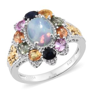 Ethiopian Welo Opal, Multi Gemstone 14K YG and Platinum Over Sterling Silver Ring (Size 10.0) TGW 4.15 cts.
