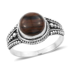 Artisan Crafted Coffee Obsidian Sterling Silver Ring (Size 7.0) TGW 3.26 cts.