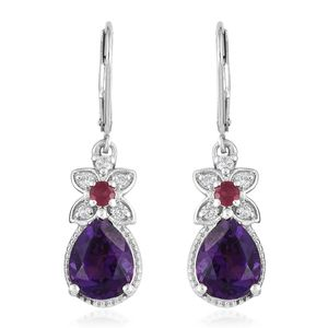 Moroccan Amethyst, Multi Gemstone Platinum Over Sterling Silver Lever Back Earrings TGW 5.10 cts.