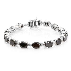 Shungite, White Topaz Platinum Over Sterling Silver Bracelet (7.25 In) TGW 14.05 cts.