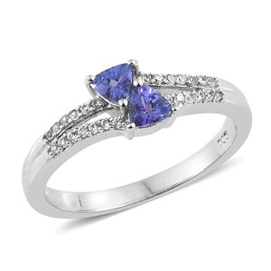 Premium AAA Tanzanite, Cambodian Zircon Platinum Over Sterling Silver Split Ring (Size 6.0) TGW 0.70 cts.