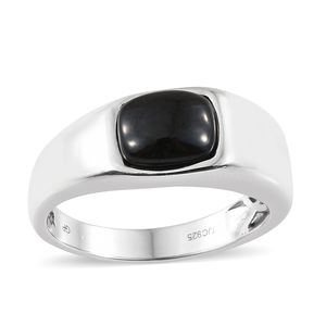 GP Thai Black Spinel, Kanchanaburi Blue Sapphire Platinum Over Sterling Silver Men's Ring (Size 12.0) TGW 4.78 cts.