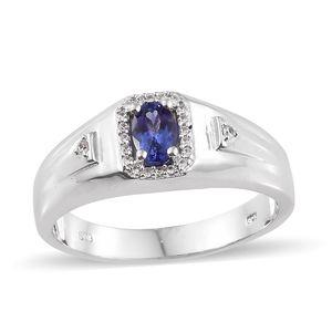 Premium AAA Tanzanite, Cambodian Zircon Platinum Over Sterling Silver Men's Ring (Size 14.0) TGW 0.80 cts.