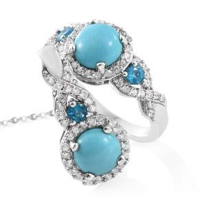 Arizona Sleeping Beauty Turquoise, Multi Gemstone Platinum Over Sterling Silver Ring (Size 10) and Pendant With Chain (20 in) TGW 5.21 cts.