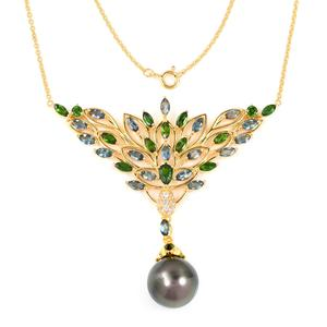 Tahitian Pearl (12-13 mm), Multi Gemstone 14K YG Over Sterling Silver Necklace (18 in) TGW 7.25 cts.
