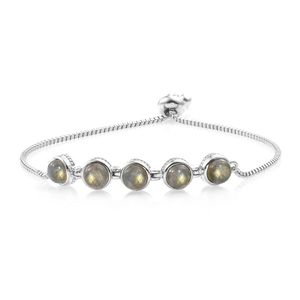 One Time Only KARIS Collection - Malagasy Labradorite Platinum Bond Brass & Stainless Steel Bolo Bracelet (Adjustable) TGW 5.50 cts.
