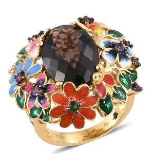 GP Brazilian Smoky Quartz, Multi Gemstone Vermeil YG Over Sterling Silver Multi Color Enameled Ring (Size 7.0) TGW 11.50 cts.