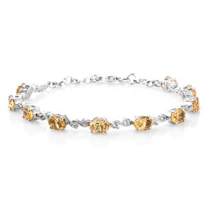 July 4th DOORBUSTER Brazilian Citrine, White Topaz Platinum Over Sterling Silver Bracelet (8.00 In) TGW 8.20 cts.