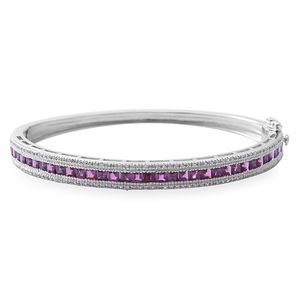 Orissa Rhodolite Garnet, Cambodian White Zircon Sterling Silver Bangle (7.50 in) TGW 6.76 cts.