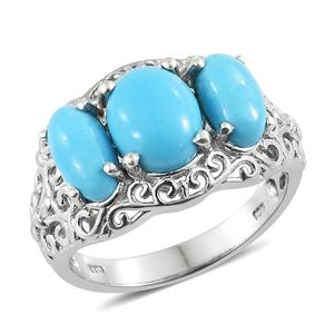 Arizona Sleeping Beauty Turquoise Platinum Over Sterling Silver Trilogy Ring (Size 10.0) TGW 4.85 cts.