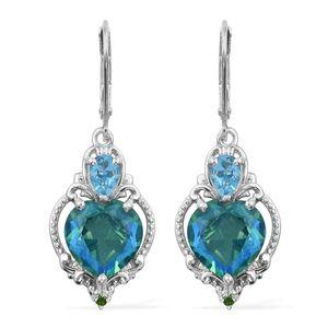 Peacock Quartz, Multi Gemstone Platinum Over Sterling Silver Lever Back Heart Earrings TGW 8.78 cts.