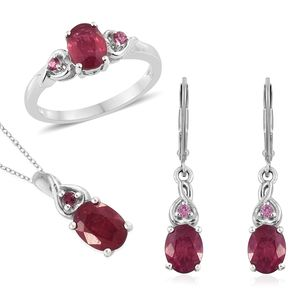 Niassa Ruby, Morro Redondo Pink Tourmaline Platinum Over Sterling Silver Earrings, Ring (Size 8) and Pendant With Chain (20 in) TGW 7.04 cts.