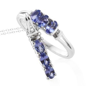 Premium AAA Tanzanite, Cambodian Zircon Platinum Over Sterling Silver Ring (Size 10) and Pendant With Chain (20 in) TGW 1.68 cts.