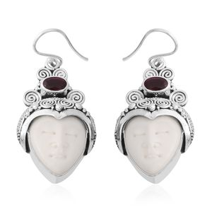 Bali Goddess Collection Carved Bone, Ruby Sterling Silver Earrings TGW 7.49 cts.