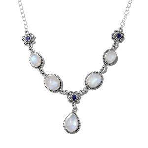 Artisan Crafted Rainbow Moonstone, Catalina Iolite Sterling Silver Princess Drop Necklace (18 in) TGW 26.02 cts.