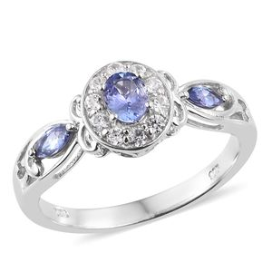 Premium AAA Tanzanite, Cambodian Zircon Platinum Over Sterling Silver Ring (Size 5.0) TGW 0.95 cts.