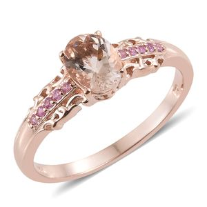 Marropino Morganite, Madagascar Pink Sapphire Vermeil RG Over Sterling Silver Ring (Size 7.0) TGW 1.12 cts.