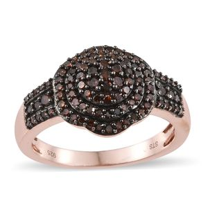 Red Diamond (IR) Black Rhodium & Vermeil RG Over Sterling Silver Ring (Size 9.0) TDiaWt 0.75 cts, TGW 0.75 cts.