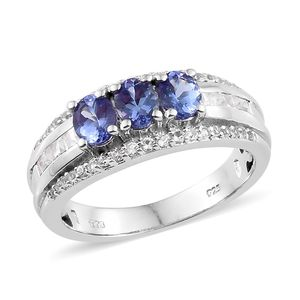 Premium AAA Tanzanite, White Topaz Platinum Over Sterling Silver Ring (Size 5.0) TGW 2.12 cts.