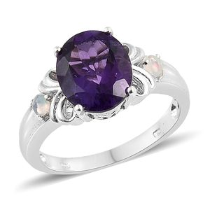 Customer Appreciation Day Lusaka Amethyst, Ethiopian Welo Opal Platinum Over Sterling Silver Ring (Size 10.0) TGW 4.39 cts.