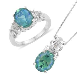 Peacock Quartz, White Topaz Platinum Over Sterling Silver Ring (Size 6) and Pendant With Chain (20 in) TGW 8.79 cts.