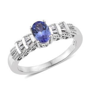Premium AAA Tanzanite, Cambodian Zircon Platinum Over Sterling Silver Ring (Size 7.0) TGW 1.04 cts.