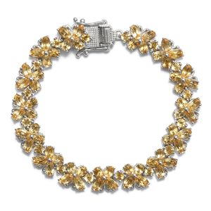 TLV Brazilian Citrine Platinum Over Sterling Silver Bracelet (6.50 In) TGW 14.30 cts.