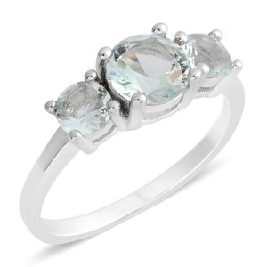 Simulated Green Amethyst Sterling Silver 3 Stone Ring (Size 5.0) TGW 1.25 cts.