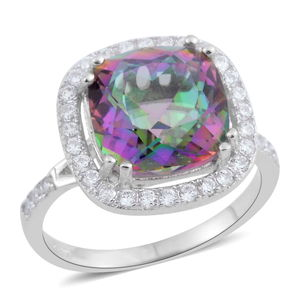 Simulated Mystic Topaz, Simulated White Diamond Sterling Silver Ring (Size 5.0) TGW 7.61 cts.