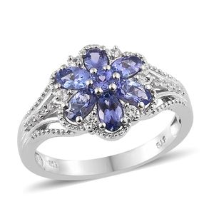 Premium AAA Tanzanite, Cambodian Zircon Platinum Over Sterling Silver Ring (Size 7.0) TGW 1.81 cts.