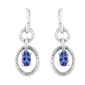 Premium AAA Tanzanite Platinum Over Sterling Silver Earrings TGW 0.50 cts.