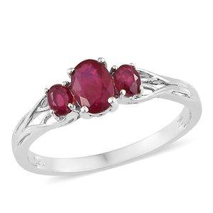 Niassa Ruby Platinum Over Sterling Silver Trilogy Ring (Size 10.0) TGW 1.80 cts.