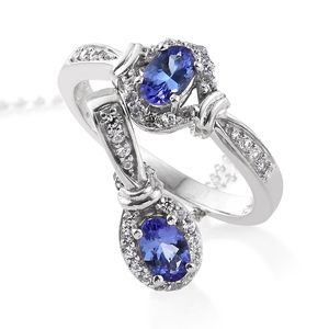 Premium AAA Tanzanite, Cambodian Zircon Platinum Over Sterling Silver Ring (Size 6) and Pendant With Chain (20 in) TGW 1.38 cts.