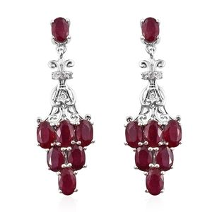 Niassa Ruby, Cambodian Zircon Platinum Over Sterling Silver Earrings TGW 9.10 cts.