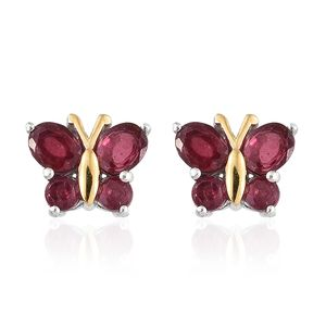 Niassa Ruby 14K YG and Platinum Over Sterling Silver Butterfly Stud Earrings TGW 2.82 cts.