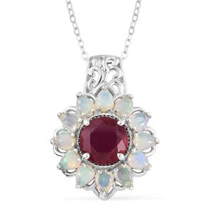 Niassa Ruby, Ethiopian Welo Opal Platinum Over Sterling Silver Pendant With Chain (20 in) TGW 4.04 cts.