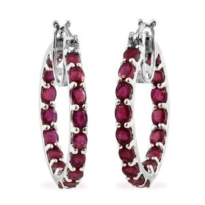 Niassa Ruby Platinum Over Sterling Silver Inside Out Hoop Earrings TGW 8.00 cts.