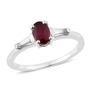 Niassa Ruby, White Topaz Platinum Over Sterling Silver Ring (Size 8.0) TGW 1.55 cts.