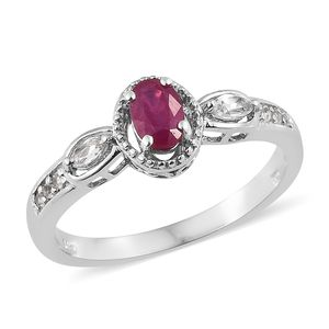 Niassa Ruby, White Topaz Platinum Over Sterling Silver Ring (Size 7.0) TGW 1.03 cts.