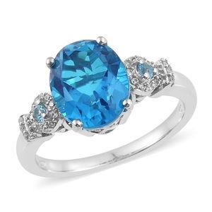 Caribbean Quartz, Multi Gemstone Platinum Over Sterling Silver Ring (Size 7.0) TGW 5.83 cts.