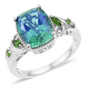 Peacock Quartz, Russian Diopside Platinum Over Sterling Silver Ring (Size 10.0) TGW 6.11 cts.