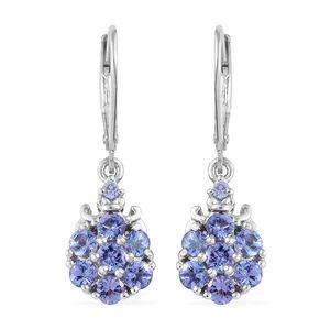 Premium AAA Tanzanite Platinum Over Sterling Silver Earrings TGW 1.81 cts.