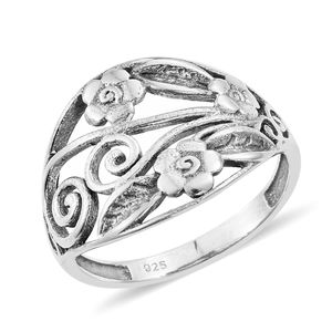 Sterling Silver Floral Ring (Size 7.0)