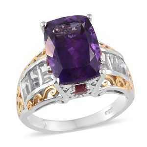 Moroccan Amethyst, Multi Gemstone 14K YG and Platinum Over Sterling Silver Ring (Size 7.0) TGW 9.60 cts.